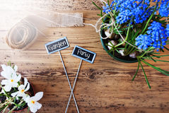 Sunny Flowers, Signs, Text Garden Party. Two Signs With English Text Garden Party. Sunny Spring Flowers Like Grape Hyacinth And Crocus. Hemp Fabric Ribbon. Aged Royalty Free Stock Images