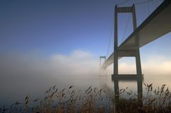 Sunny foggy bridge Royalty Free Stock Photo