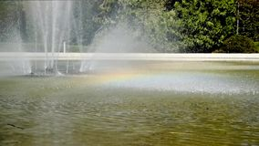 The sunny Fountain with Rainbow in the park. stock video footage