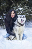 Sunny frozen morning of fashionable enjoyed young woman playing with husky dog in snow outdoor. Lovely moments, true royalty free stock photography