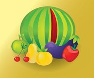 Sunny Fruits set Royalty Free Stock Photography