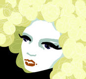 Sunny girl. Portrait of girl with curly blond hair stock illustration