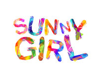 Sunny girl. Vector triangular letters Stock Images