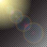 Sunny glare. Sun and solar flare, special effect of sunny glare, glowing burst, transparent shine light effect, illustration Stock Images