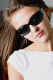 Sunny glasses. Beauty woman in sun - glasses Stock Photography