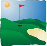 Sunny golf course. With flag and sands, illustration Stock Photo