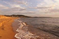 Sunny greek beach. Near Katakolo, Peloponnese Stock Photos