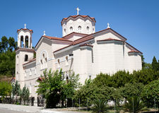 Sunny Greek church. Greek church in a hot summer day stock images