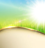 Sunny green background. With elegant abstract wave, vector Stock Image