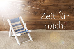 Sunny Greeting Card, Zeit Fuer Mich Means Time For Me Stock Photo