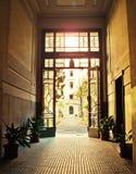 Sunny hallway. Large sunny hallway in apartment building Stock Photo