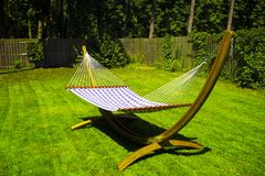 Sunny Hammock in Garden stock photos