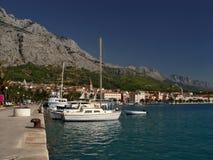 Sunny harbor. Makarsk, Croatia Royalty Free Stock Images