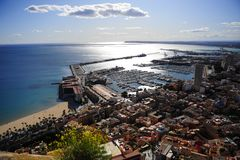Sunny harbour in Spain Stock Photos