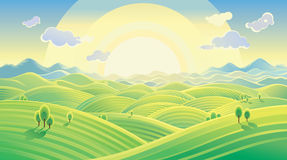 Sunny hilly landscape. Sunny hilly landscape (panoram). Vector illustration can be used as background. EPS 8, no gradient mesh and other effects Royalty Free Stock Photography
