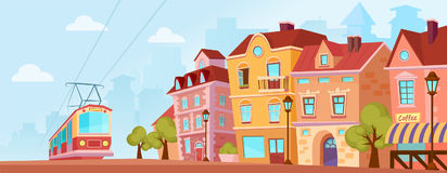 Sunny historical city street. Old city banner with tram. Cartoon vector illustration. Stock Images