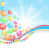 Sunny holiday background with color balloons and f Royalty Free Stock Photos