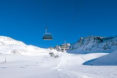 Sunny holiday in ski resort. Solda, Sulden, South Tyrol, Italy Stock Images