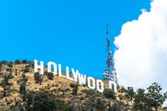 Sunny Hollywood Hills. California Attractions. Los Angeles, California, USA - March 21, 2017: The famous symbol of the city of Los Angeles - the inscription Royalty Free Stock Photos