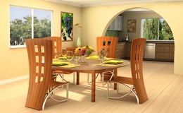 Sunny home. Modern dining room with a kitchen on background Stock Photos