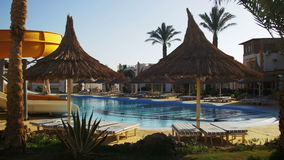 Sunny Hotel Resort with Blue Pool, Palm Trees and Sunbeds in Egypt stock video footage