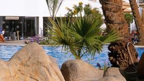 Sunny Hotel Resort con la piscina, gli ombrelli di spiaggia ed i lettini blu di lusso nell'Egitto archivi video