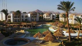 Sunny Hotel Resort met Blauwe Pool, Palmen en Sunbeds in Egypte stock videobeelden