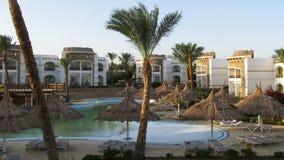 Sunny Hotel Resort met Blauwe Pool, Palmen en Sunbeds in Egypte Geschoten op Canon 5D Mark II met Eerste l-Lenzen stock footage