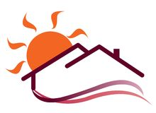 Sunny house logo. Sign for works vector illustration