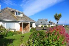 Sunny Houses i Cornwall Arkivfoton