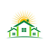 Sunny houses logo. Logo Houses in green with sun above Stock Photo