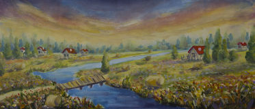 Sunny Houses with red roofs in flower field. Bridge, river. Village. Oil Painting. Stock Photos