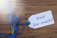Sunny Hyacinth, Etiket, de Middelentijd van Zeit Fuer Mich voor me Stock Afbeelding