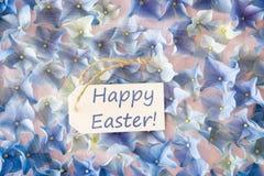 Sunny Hydrangea Flat Lay, Text Happy Easter Stock Photography