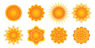 Sunny icons. Set of sunny icons for your design Royalty Free Stock Photography