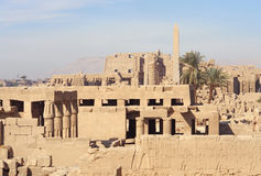 Sunny illuminated Precinct of Amun-Re in Egypt. Ancient architectural scenery at the Precinct of Amun-Re in Egypt (Africa Stock Image