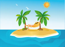 Sunny island with palms and hammock Royalty Free Stock Photography