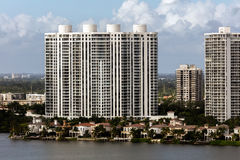 Sunny Isles Beach. FL - DECEMBER 26 2015: Luxury condo buildings in the , located on a barrier island in northeast Miami-Dade County, Florida Stock Image