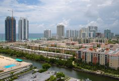Sunny Isles Beach, Florida. Bird's-eye view of Sunny Isles Beach and intercoastal, Florida Royalty Free Stock Photos