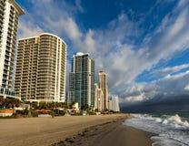 Sunny Isles beach in Florida. Luxury hotels line up the beach in the Sunny Isles, Florida Royalty Free Stock Image