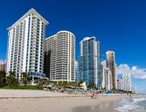 Sunny Isles beach in Florida. Luxury hotels line up the beach in the Sunny Isles, Florida Royalty Free Stock Images