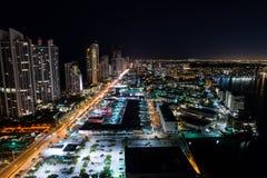 Sunny Isles Beach Florida night aerial photo Stock Photo