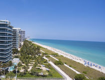 Sunny Isles Beach Miami. Ocean front residences. Aerial landscape panoramic vew Royalty Free Stock Image