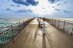Sunny isles beach pier in sunset Royalty Free Stock Photo