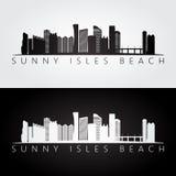 Sunny Isles Beach, USA skyline and landmarks silhouette, black and white design. Sunny Isles Beach, USA skyline and landmarks silhouette, black and white design royalty free illustration