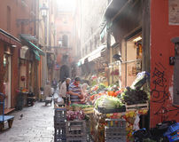 Sunny italian market place. Beautiful market place full of fruits and vegetables in Bologna, Italy Royalty Free Stock Image