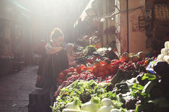 Sunny italian market place Royalty Free Stock Images