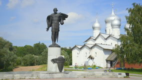 A Sunny July day at the monument to Alexander Nevsky. Veliky Novgorod stock video footage