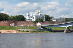Sunny July day on the Volkhov River. View of the detinets of Veliky Novgorod Stock Images