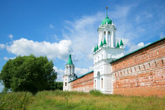 A sunny july day at the walls of the ancient orthodox Spaso-Yakovlevsky monastery of St. Demetrius. Rostov Veliky Royalty Free Stock Images